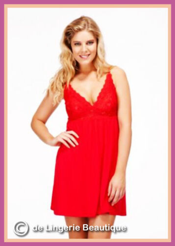 L S M XL Ladies Short Chemise Babydoll with Lace Red /& Black Size 8-20