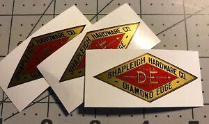 Shapleigh-Hardware-Co-Gold-Red-Black-Diamond-Edge-Decals-2-1-4-set-of-3