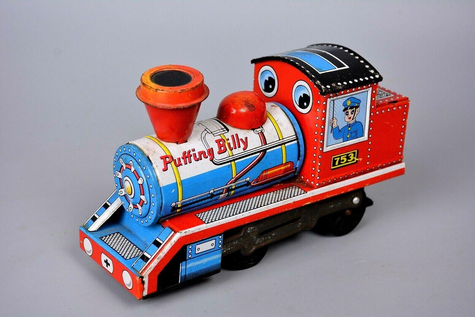 Vintage Puffing Billy Japanese Tinplate Steam Railway Engine, Daiya, Push Along