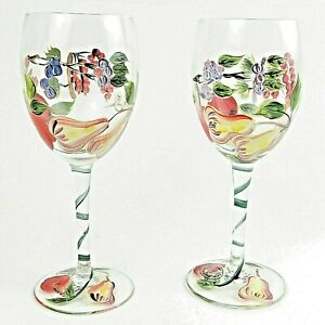 Hand Painted Wine Goblets By Home Essentials Beyond Set Of 2 Glasses Ebay