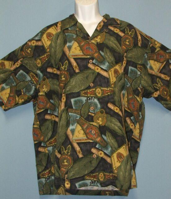 Tommy Bahama Cigars Tobacco Leaf Hawaiin Havana Cuba Camp Shirt 100% Silk Large