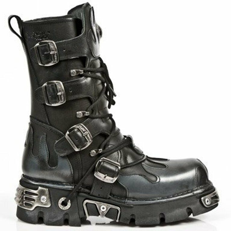 NEWROCK NEW ROCK FLAMES 591-S2 BLACK METALLIC SILVER FLAMES ROCK GOTH LEATHER BIKER BOOTS a19de5