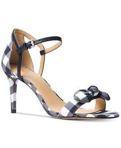 c16aeaa6bcd Details about Michael Kors $110 Pippa Gingham Sandals Mid Heels Optic White  Admiral Blue