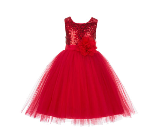 Wedding Formal Sequins Mesh Flower Girl Dresses Tulle Birthday Graduation J122F