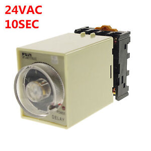 24VAC-DC-0-10-Seconds-Power-Off-Delay-Time-Relay-With-Socket-Base