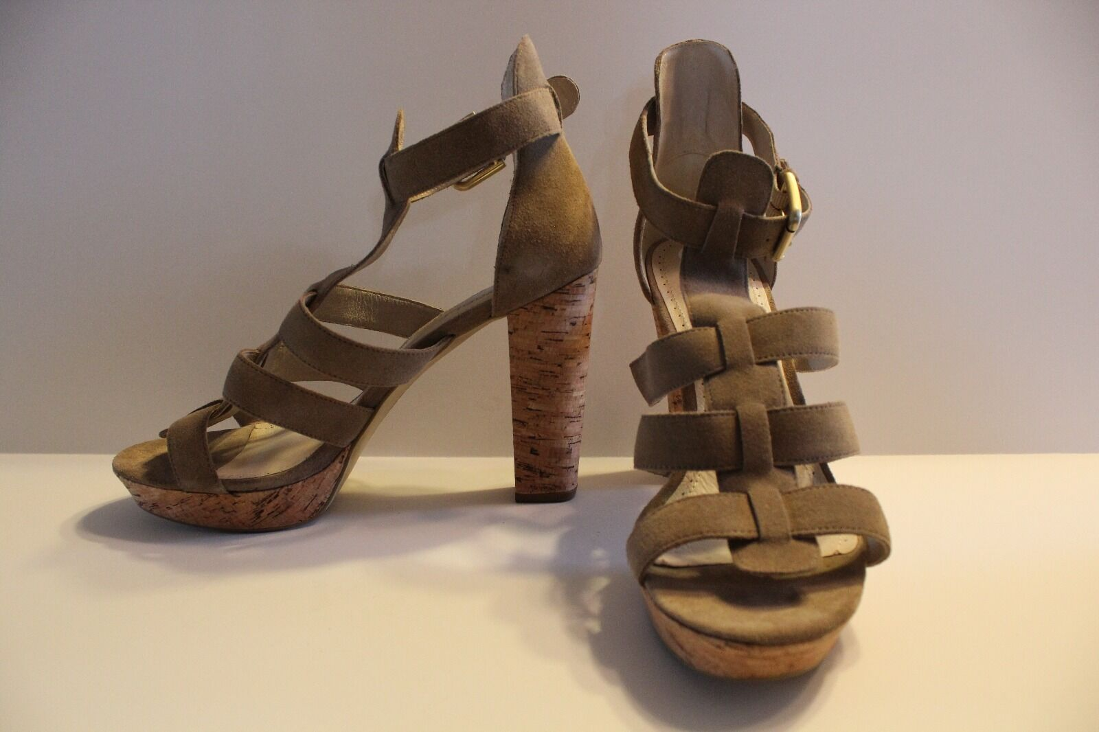 NWT pinkgold PANA Women's Taupe Open Toed High Heeled shoes Sandals size 9