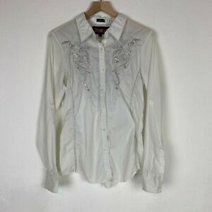 Roar-Womens-Large-White-Silver-Embellished-Long-Sleeve-Western-Button-Down-Shirt