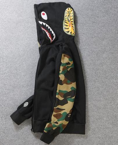 HOT GIAPPONE versione maschile Bape squalo mascella di squalo Bape Zipper Sweater AAPE Giacca Felpa con cappuccio 3 COLORI 338e7c
