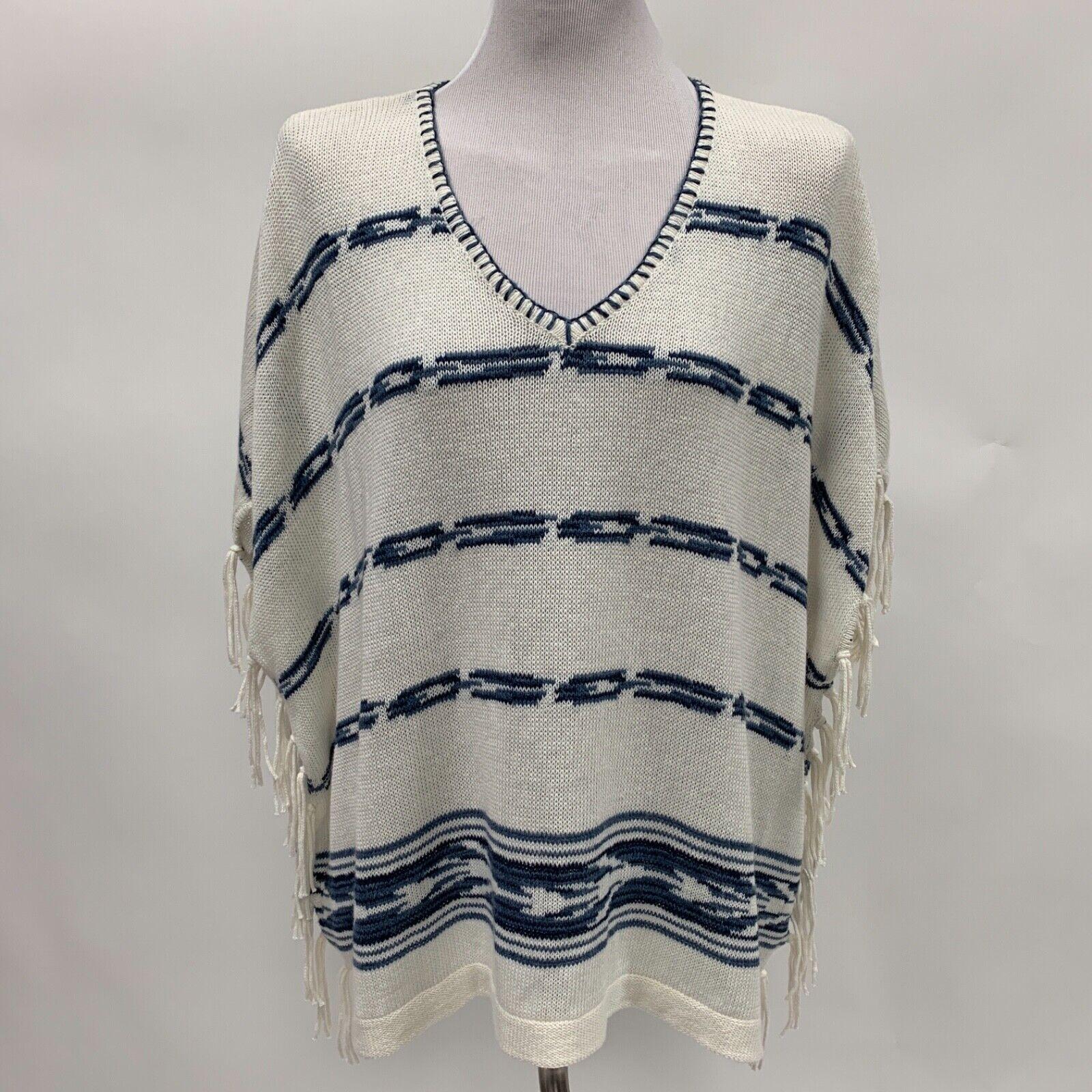 Chaps Womens Poncho Sweater X-Large XL White Navy bluee Fringe NWT