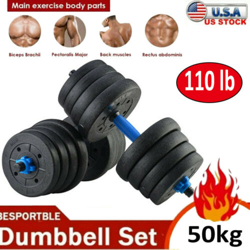 Details about  /Totall 110 LB Weight Dumbbell Set Cap Gym Barbell Plates Body Workout Adjustable