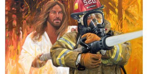 JESUS WITH FIREMAN 5D diamond painting FULL DRILL 40 x 30 cm