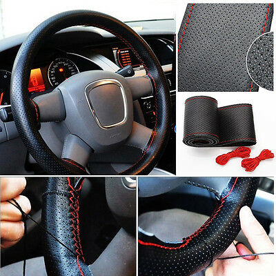 Car Truck Leather Steering Wheel Cover With Needles and Red Thread Black Nice
