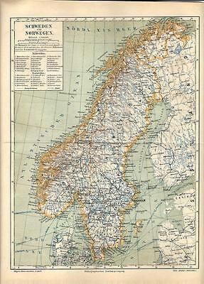 Cartina Norvegia Da Stampare.Carta Geografica Antica Svezia Norvegia Sweden Norway 1890 Old Antique Map Ebay
