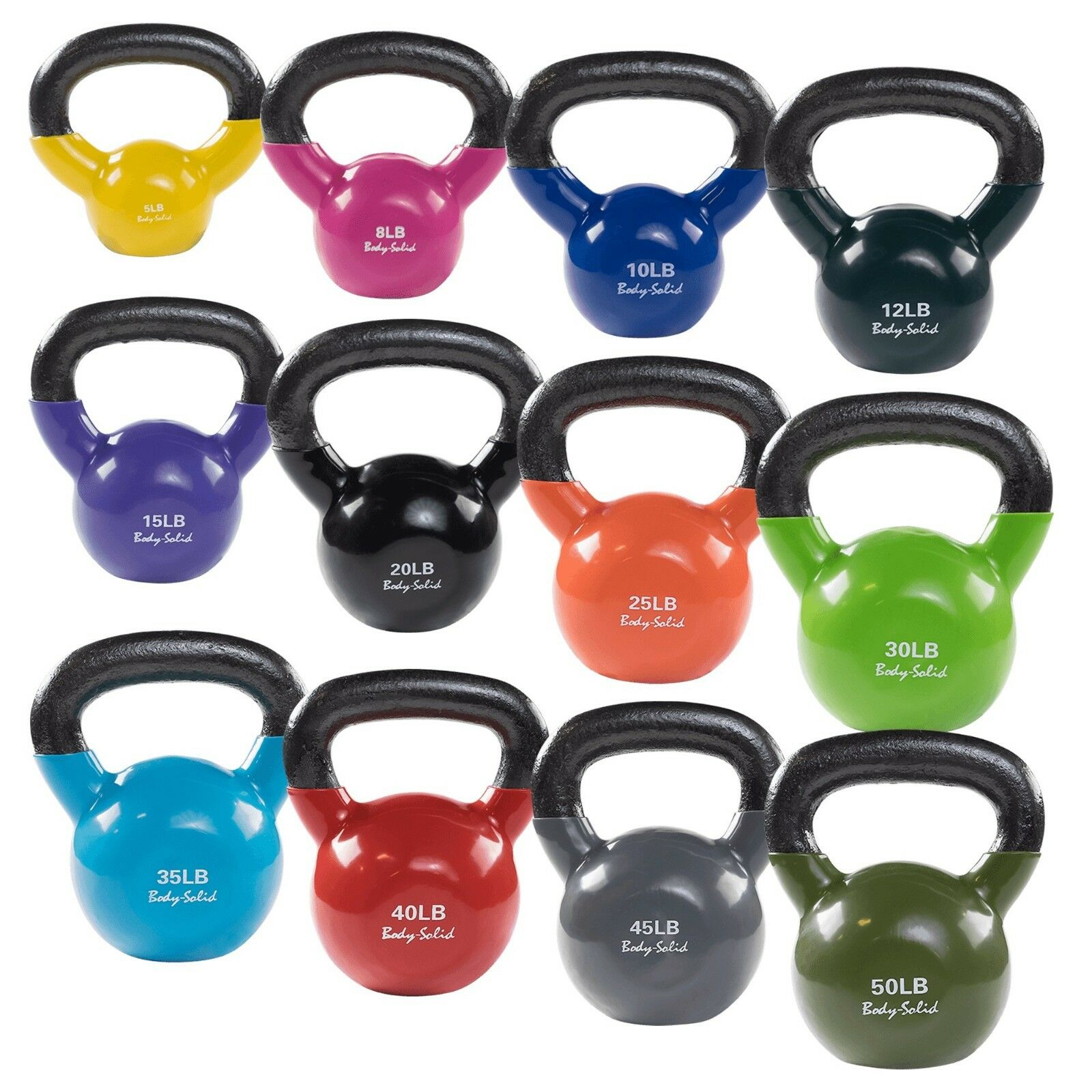 Body-Solid Vinyl Dipped Kettlebells - color Coded KBV  for Studio, Gym and Home  great offers
