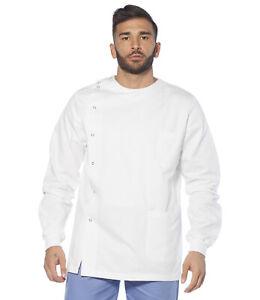 Casacca Medico Uomo Cotone Camice Sanitaria Dentista Infermiere Lavoro Bianca Abbigliamento e accessori Uomo: abbigliamento
