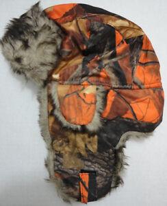 Image is loading Orange-Camouflage-Aviator-Hat-Hunter-Orange-Camo-Trapper- 71dc4250ca4