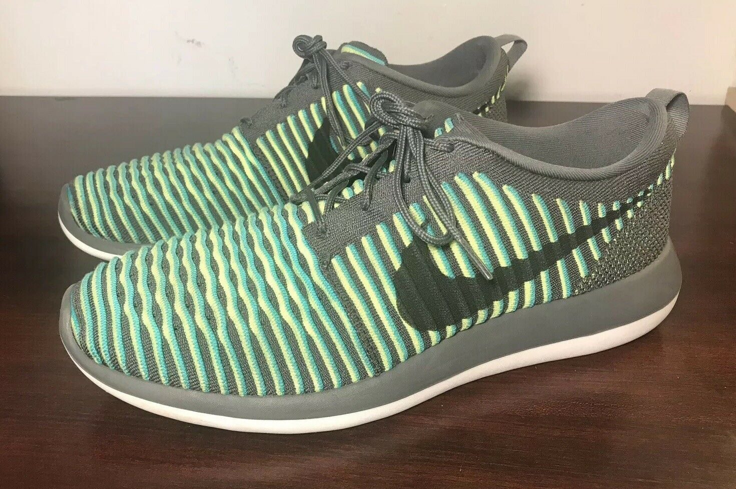 0ed8c5b9b016 Nike Roshe Two 2 Flyknit bluee Grey Fluorescent yellow Black size 11.5  5802bd