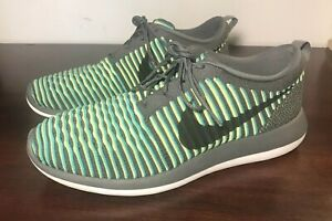 promo code 800a1 4ea2b Image is loading Nike-Roshe-Two-2-Flyknit-Blue-Gray-Fluorescent-