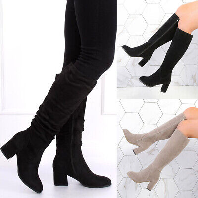 Womens Mid Calf Knee High Boots Ladies Faux Suede Block Heel Winter Shoes Size | eBay