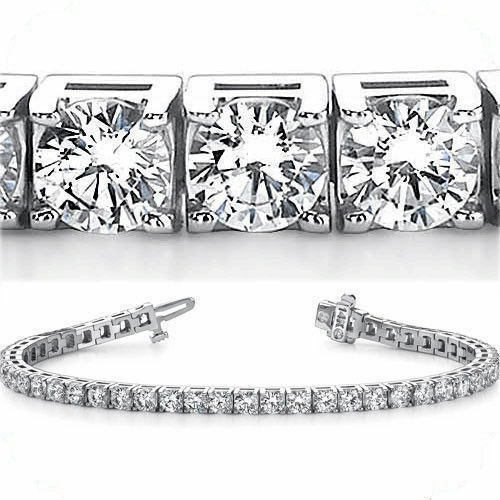 12.39 ct Round cut Diamond Tennis Bracelet 18k White gold, 0.33 ct