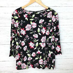 J-Jill-Women-039-s-Wearever-Collection-Black-Floral-Tee-3-4-Sleeves-Flower-Top-XS