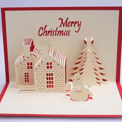 CG/_ HB Christmas Cabin Tree Snowman 3D Pop Up Greeting Card Handmad KQ/_ HK DI
