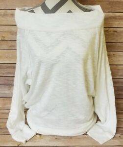 FREE-PEOPLE-Women-Pullover-Palisades-Off-Shoulder-Thermal-Sweater-Knitwear-Large