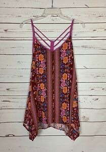 Kori America Boutique Women's L Large Purple Floral Sleeveless Spring Tunic Top