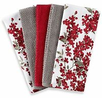 Kitchen Towel Set 5 Pack Dish Towels Red White Grey Cherry Blossom Design Soft