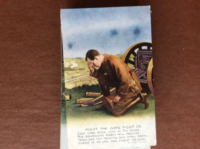 B1K postcard used ww1 song card fight the good fight no 3 cast care