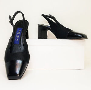 103852b4278 Details about Easy Spirit Black Leather Cap Toe Slingback Comfort Heels  Pumps 7 NARROW (S363)