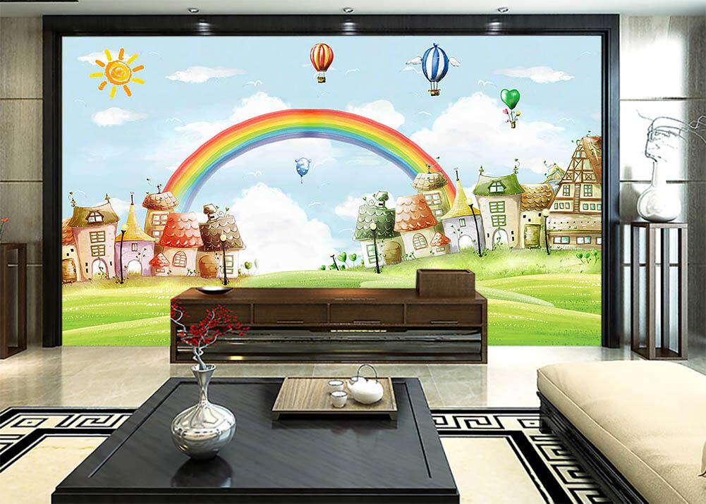 Dream Rainbow Town 3D Full Wall Mural Photo Wallpaper Printing Home Kids Decor