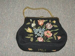Image Is Loading Vintage 1961 Needlepoint Purse Bag Handbag Handmade 10