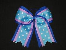 "NEW ""TEAL PURPLE BLUE"" Cheer Hair Bow Pony Tail 3 Inch Ribbon Girls Cheerleading"