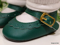 Green Leather-look Mary Jane Doll Shoes Fits 18 American Girl Doll Clothes