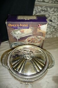 Silver-plated-tableware-QUEEN-ANNE-holder-round-oven-to-table-serving-dish-NEW