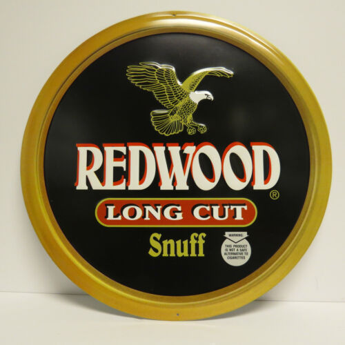 "NEW Gold /& Black Redwood Long Cut Tobacco Chew Snuff 15/"" Diameter Tin Sign"