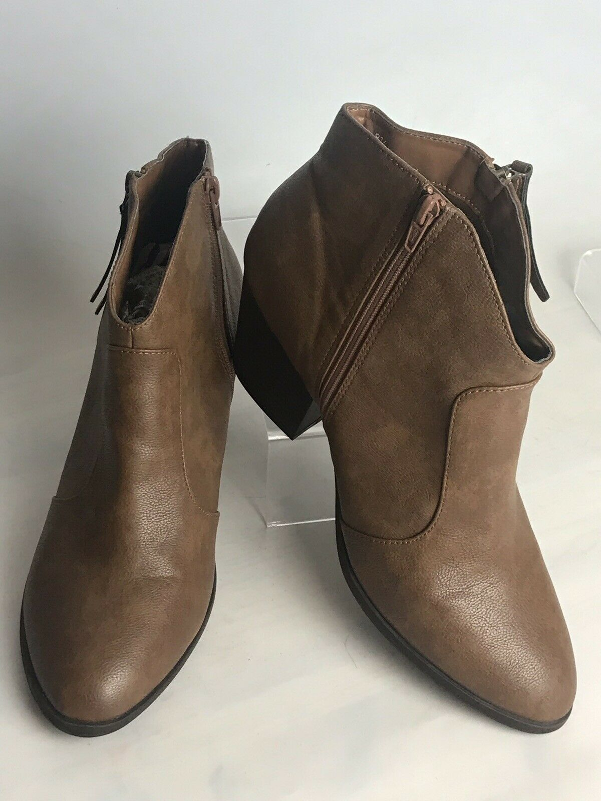 M&S LIMITED EDITION INSOLIA BROWN ANKLE BOOTS,SIDE ZIPS,3.5INS HEELS UK 8.5