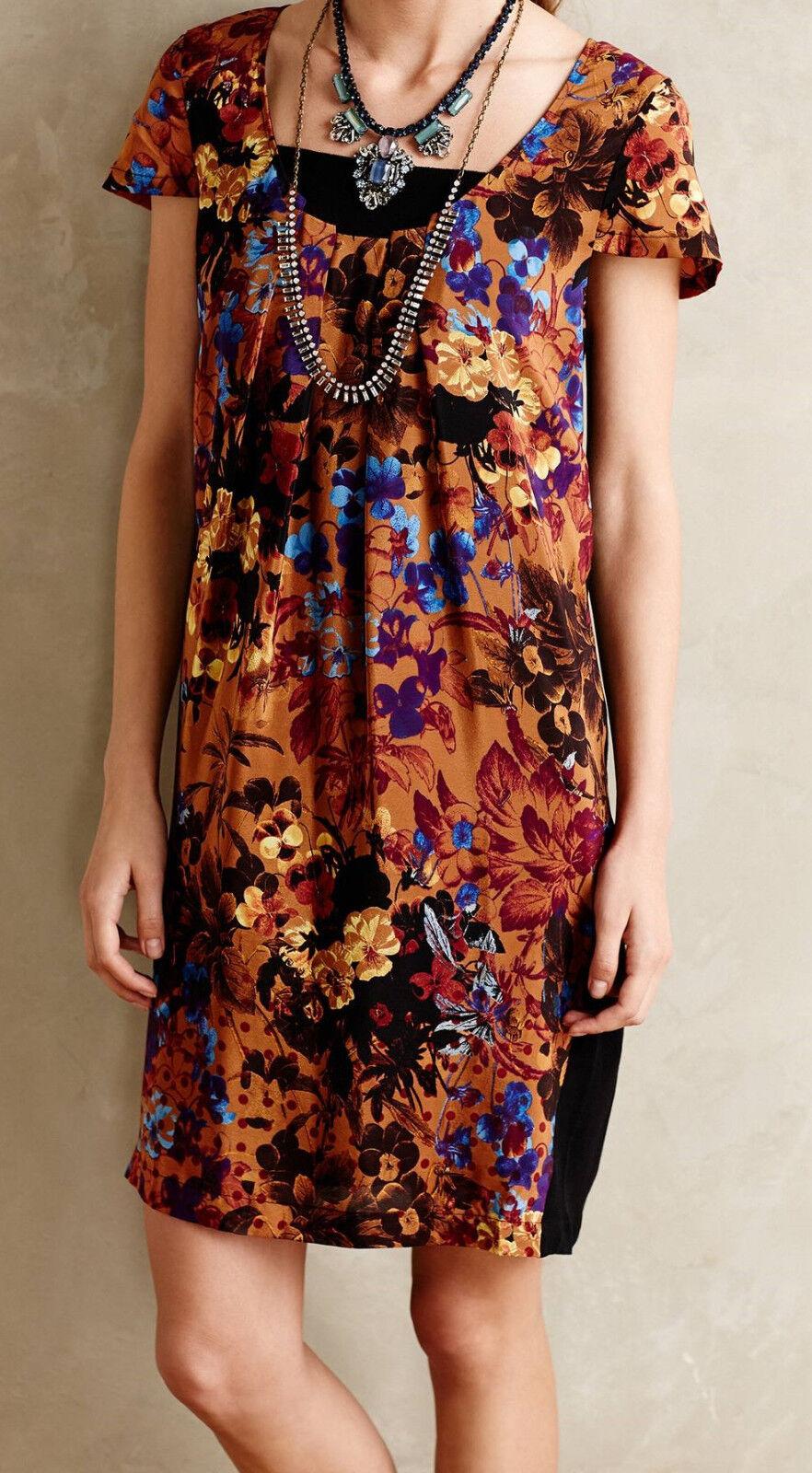 Maeve Pintura Silk Shift Dress Size Medium Brown Motif NW ANTHROPOLOGIE Tag