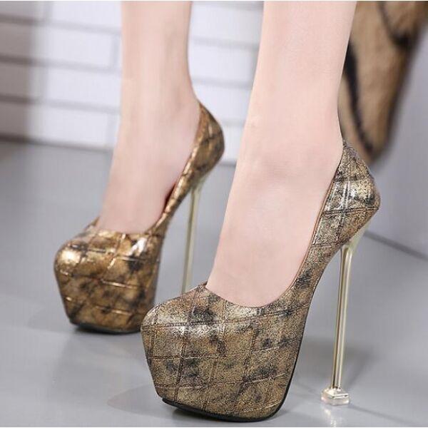 decolte mujer alti tacco 16 cm  plateau oro colorati fashion  cm simil pelle CW287 fecbd1