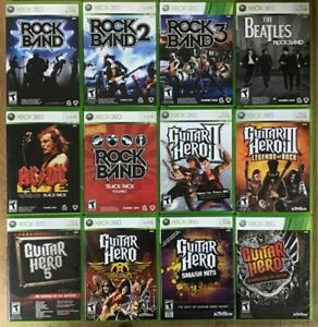 Rock-Band-Guitar-Hero-Microsoft-Xbox-360-Cleaned-and-Tested