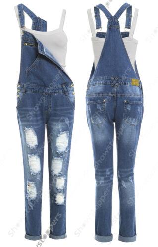 NEW DUNGAREE JEAN Rip DENIM Womens Size 6 8 10 12 14 Ladies DUNGAREES Jumpsuit