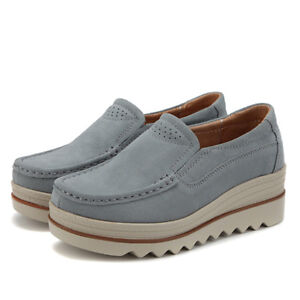Image is loading Womens-Breathable-Suede-Round-Toe-Slip-On-Platform- 68c54a8c7a