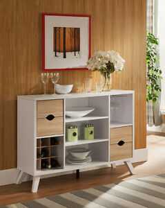 Details about Modern White Buffet Wine Fine Dining Serving Table Stand  Kitchen Home Furniture