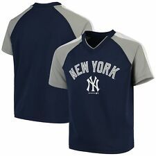 Youth Navy New York Yankees Poly Mesh Raglan V-Neck T-Shirt