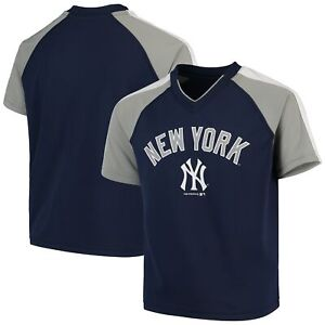 Youth Navy New York Yankees Poly Mesh Raglan V-Neck T-Shirt