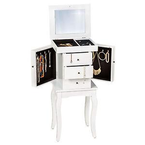 De madera Joyero con espejo joyería soporte joyas del gabinete