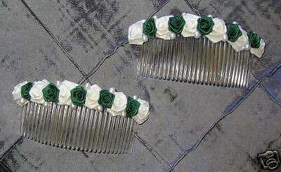 Details about  Bride Bridesmaid Flowergirl EMERALD GREEN hair combs