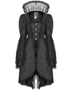 Punk-Rave-Womens-Gothic-Frock-Coat-Jacket-Black-Lace-Steampunk-Regency-Vampire