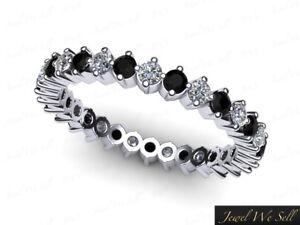 0-80Ct-Round-Diamond-amp-Black-Diamond-Eternity-Band-Ring-14k-White-Gold-G-SI1-AAA